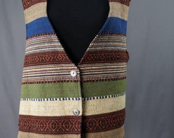 Vintage 90's Jane Ashely Southwestern Rug Vest Size Medium