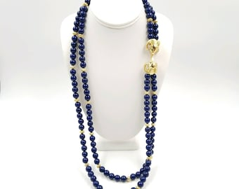 Signed Kenneth Jay Lane for Avon Simulated Lapis Blue Plastic Bead Necklace with Ram's Head Double Clasp, KJL Long Necklace