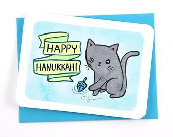 Happy Hanukkah Cat Dreidel Card- Holiday Notecard, Cute Hanukkah Card, Dreidel Notecard, Funny Hanukkah Card, Cat Lover, Gifts under 10