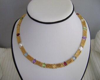 beadwork necklace & gemstone, multi stone necklace, gold bead stone necklace, seed bead necklace, necklace for mom gold, beadwork jewelry