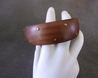 Wood with Brass dots Bangle