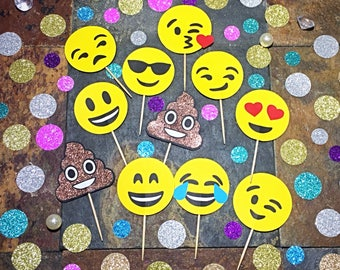 Emoji Cupcake Toppers/Emoji Birthday Cupcake Toppers/ Emoji Party Toppers