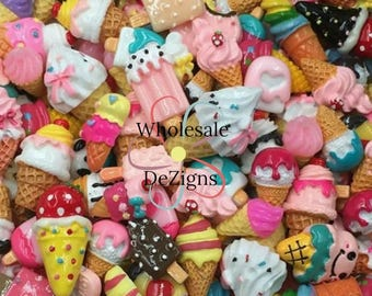 Grab Bag of Ice Cream Cone Resins - Cabochons - Yummy Ice Dream Cones - Flat Back Acrylic Embellishment