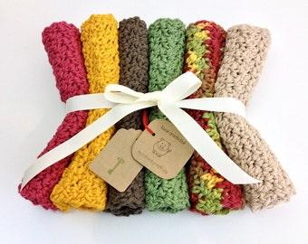 6 Fall Harvest Cotton Washcloth Crochet Dishcloths Cotton Wash Cloth Set of 6 Red Gold Sage Brown Tan Autumn Dishcloth Gift Set Housewarming