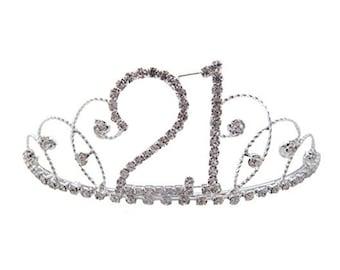 21st Birthday Diamante Crystal Tiara - Silver Plated Finish
