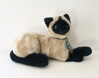 Cat stuffed animal Dakin Animal 1980s Siamese Cat Cinnamon Cat Plush