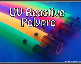 """Blacklight Reactive UV Colored Poly Pro Hoops. Available in 3/4"""" OD and 5/8"""" OD THiN!  BriGHTeSt Colors Around! Free Sanding Option"""