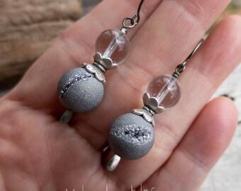 Druzy Stardust Quartz Geode Earrings    Silver Pewter Druzy Agate Stones   Earthy   Organic   Boho   Hippie   Wedding    Earrings Under 25