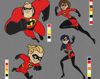 embroidery 4 designs 4x4, 5x7 Incredibles supreheroes pes hus jef vip vp3 dst exp in zip