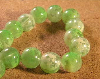 10 glass beads 12 mm speckled 2 translucent tones - green-PE189-7