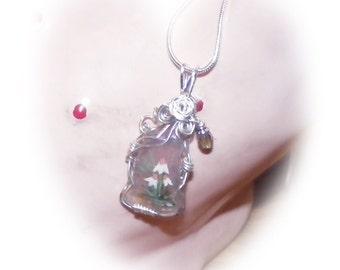 Hand painted Rare Purple Sea Glass pendant necklace
