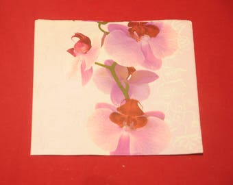 "paper flowers ""Orchidée"" theme towel"
