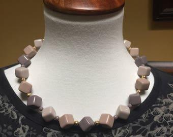 "Mauve Cube Beaded Necklace 16-18"""