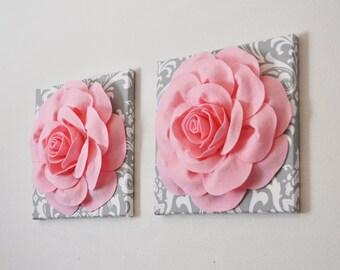 "Nursery - TWO Wall Hangings Light Pink Rose on Gray and White Damask 12 x12"" Canvas Wall Art- Baby Girl Nursery - Wall Decor - princess wall"