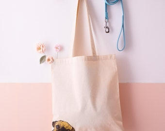 Pug Tote bag - Fawn Pug Shopper - Pug Bag - Pug gift - Gift for dog lovers