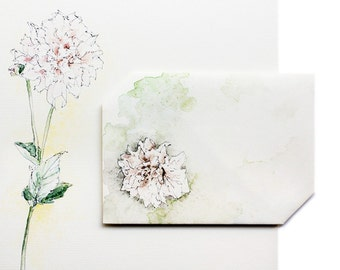 Instant Card+Envelope, Dahlia Flower, Digital Download, Thinking of You Card, Pink, Green, Yellow, Greeting Card, Blank Notecard