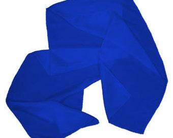 """Royal Blue 100% Habotai Silk Scarf - 8""""x 54"""" - Dyed"""