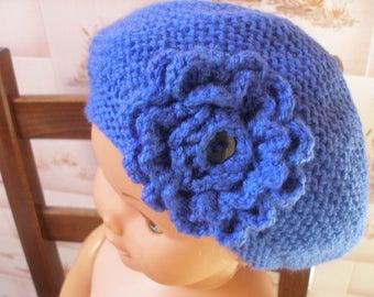 Kids floral blue beret