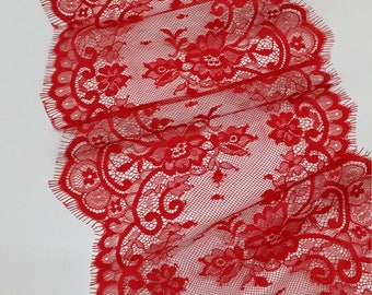 Red lace Trim, Chantilly Lace, French Lace, Wedding Lace, Scalloped lace Eyelash lace Floral Lace Lingerie Lace by the yard EVSL052C