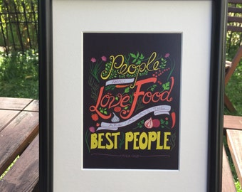 Food & Kitchen | Foodie Gift | Housewarming Gift | Lettering | Julia Child Foodie Quote on Plum with Vegetables Unframed 5x7 Art Print