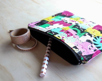 Crazy cat lady Zippered pouch  / clutch / pencil case / purse / cosmetic bag with zip closure