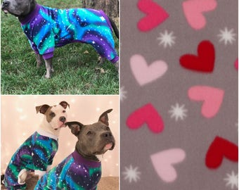 Hearts Dog Pajamas, Fleece Dog Pajamas, Dog PJs, Dog Jammies, Dog Pyjamas, Dog Clothes, Dog Clothing, Large Dog Clothes, Cute Dog Clothes