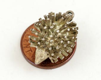 Vintage Sterling Silver Hedgehog Charm Pendant