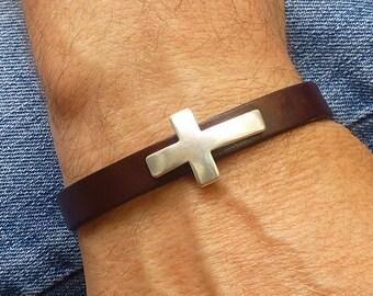 Sideways Cross Bracelet, Religious Jewelry, Mens Brown Leather Bracelet, Mens Christian Bracelet, Brown Bracelet, Magnetic Clasp Bracelet