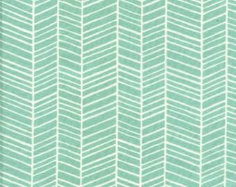 Herringbone in Pond (Aqua) JD36 - Joel Dewberry - Modern Meadow - Free Spirit Fabric  - By the Yard