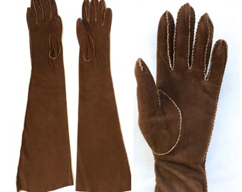 1940s/50s brown suede elbow length gloves