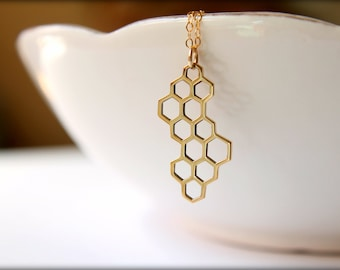 Honeycomb Necklace, Available in Sterling Silver Plated Bronze or Bronze and Gold Filled