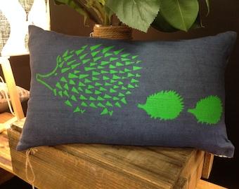 Cushion Decorative Pillow Cover - Navy & Green, Linen, Screen Printed Hedgehog/Echidna /Animal, Australian Made