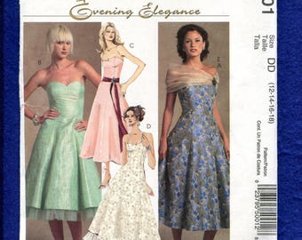 McCalls 5001 Flared & Fitted Party Dress Pattern Size 12..14..16..18 UNCUT