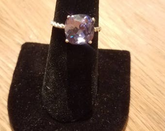 Stunning 10x10mm  Swarovski and .925 Sterling Silver Cushion Ring - Size 6.5, pick your stone!