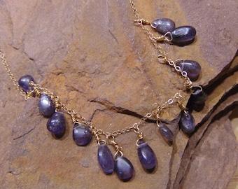 Iolite Necklace, Bohemian Iolite Teardrop Necklace, Iolite Drop Necklace, Gemstone Necklace