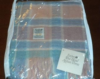 Vintage Faribo Wool Blend Afghan Throw Blanket NIP Faribault Woolen Mill Co. Minnesota USA blue pink pastel zipper plastic cover