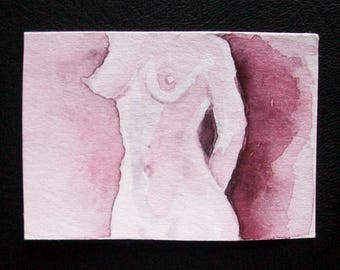 """Mini watercolor """"Nude"""", 3 x 5 cm"""