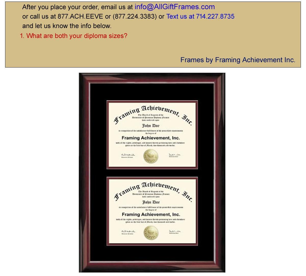 Estera de doble Diploma marco dos grado certificado placa brillante ...