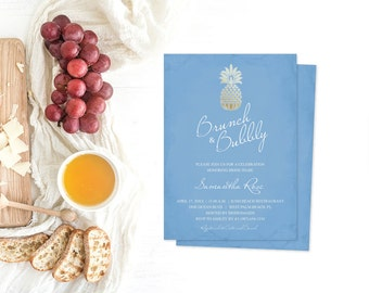 Brunch and Bubbly Shower Invitation, Editable Text Acrobat Reader Template, Pineapple Party Invite, Tropical Party, Wedding Shower, Bridal
