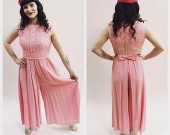 1960s Bubblegum Pink Wide leg Jumpsuit