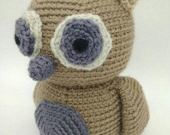 Big amigurumi owl handmade crochet doll - READY TO SHIP -