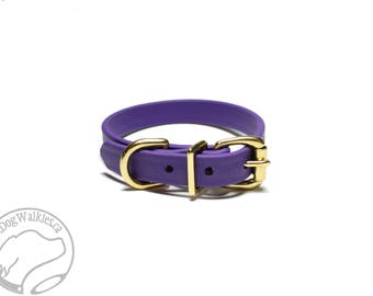 """Royal Purple Beta Biothane Dog Collar - 5/8"""" (16mm) Wide - Leather Look and Feel - Small Dog Collar - Stainless Steel or Brass Hardware"""