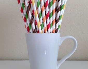Fall Paper Straws Thanksgiving Straws Red, Orange, Yellow, Green, Brown Paper Straws Party Supplies Party Decor Bar Cart Accessories