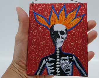 mixed media art collage assemblage original, dia de los muertos art, Halloween art