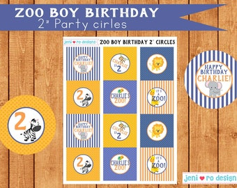 """Zoo boy birthday - Printable 2"""" Party circles!  Personalization included!"""