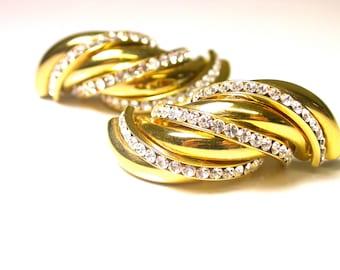 Gold Tone Rhinestone Earrings - Rhinestones - Pierced Earrings - Clear Rhinestones # 911