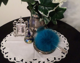 """Turquoise color """"Fluffy Puffy"""" Marabou Powder Puff with Silver Plated Handle"""