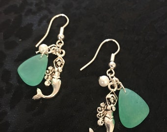 Mermaid Earrings With Aqua Sea Glass Made Of Sterling Silver