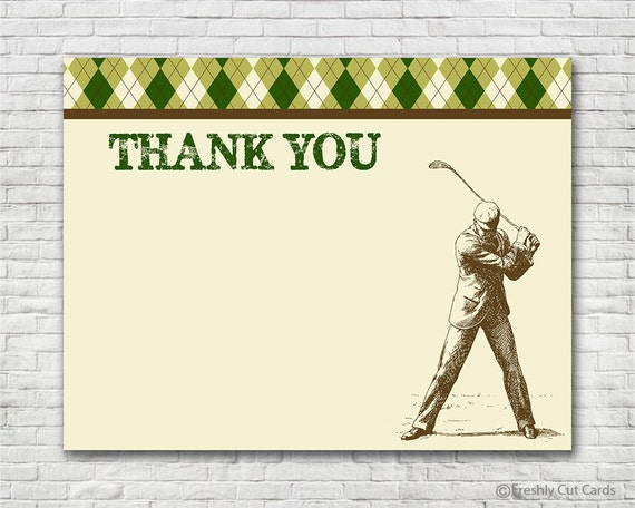 argyle golf theme thank you card instant download