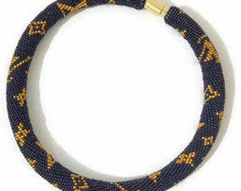 Black Gold Beaded crochet Necklace , Louis Vuitton Necklace - Bead crochet rope - Vuitton , Gold